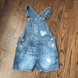 Toddle girl distressed denim overall